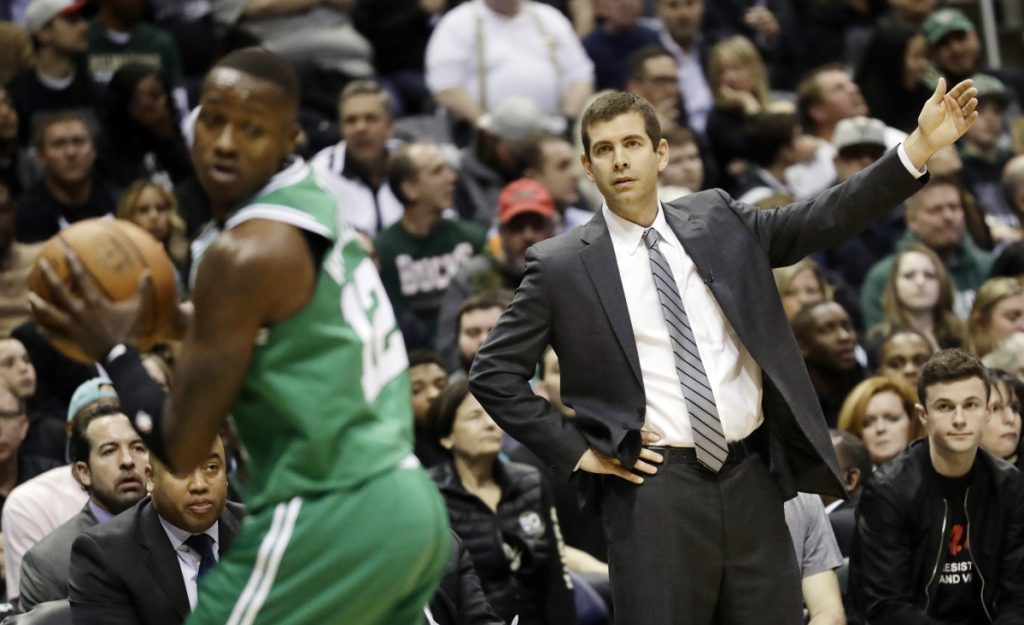 "In this April 20 photo, Boston Celtics head coach Brad Stevens reacts during the first half of Game 3 of a first-round playoff series against the Milwaukee Bucks in Milwaukee. The Celtics had the third-best road record during the regular season but have just one road victory so far in the playoffs. Boston's youngsters acknowledged being ""shell-shocked"" in the first round when that series shifted to Milwaukee. They want to emulate their approach from last series against Philadelphia when they were able to put the Sixers in a 3-0 hole."