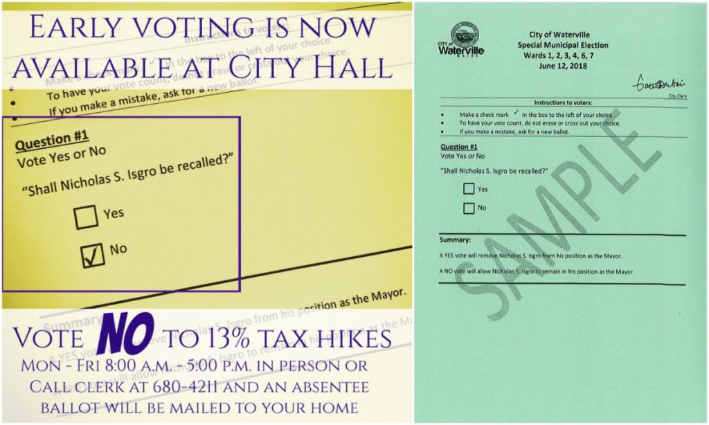 This composite image shows the graphic Waterville Mayor Nick Isgro posted on his Facebook page (left), implying a vote for his recall is a vote to approve a citywide tax hike, and a sample copy of the ballot for his recall (right), as provided by the city of Waterville.