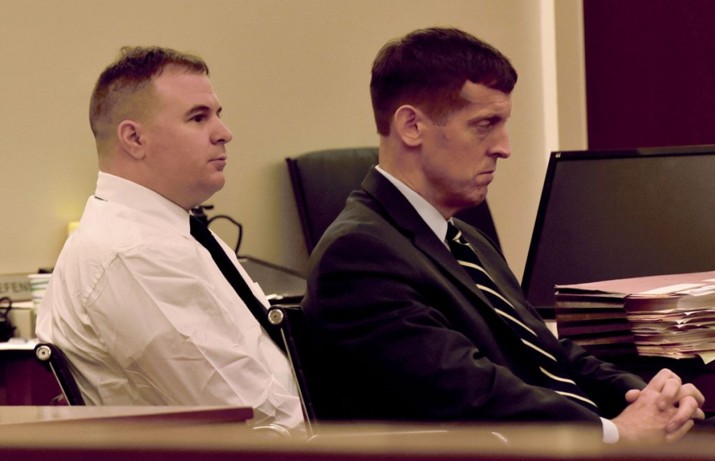 Defendant Jeremy Clement, left, and his attorney, Walter McKee, listen to opening statements Monday during the first day of Clement's jury trial on charges of attempted murder in Kennebec County Superior Court in Augusta.