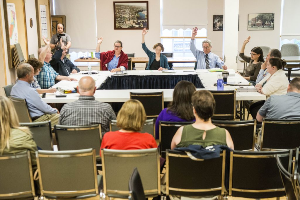 The Waterville City Council votes unanimously May 8 to hold a special municipal election to recall Mayor Nick Isgro during a budget workshop in the council chamber at The Center. The council plans to meet Tuesday to discuss proposed budget items.