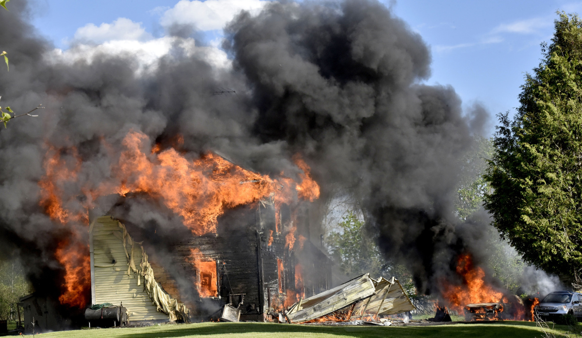 Wind Swept Fire Ravages Home Off Depot Street In Thorndike