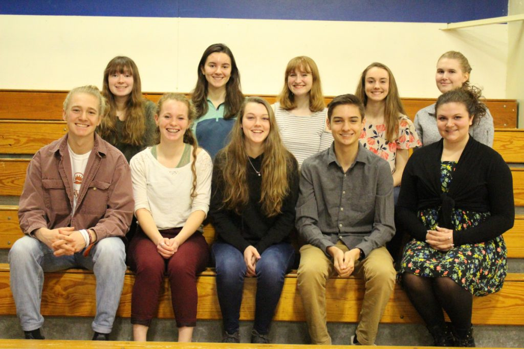 Erskine Academy recently announced its Top 10 seniors for the class of 2018, the are, in front, from left, Caleb Tyler, Kayla Hubbard, Kassandra Nadeau, Luke Hodgkins, and Maggie Anderson. In back, from left, are Megan Lemieux, Emma Stone, Gabriella Pizzo, Kaylee Porter and Carleigh Ireland.