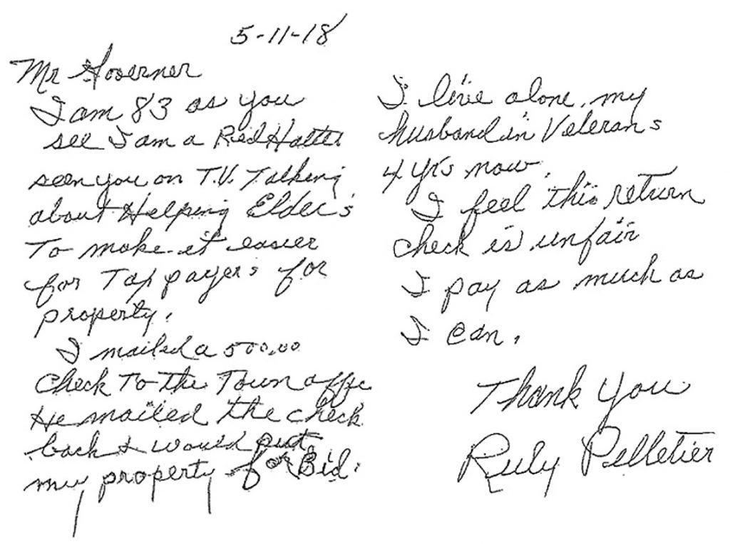 Caribou resident Ruby Pelletier wrote this letter to Gov. Paul LePage about her tax payment problems.