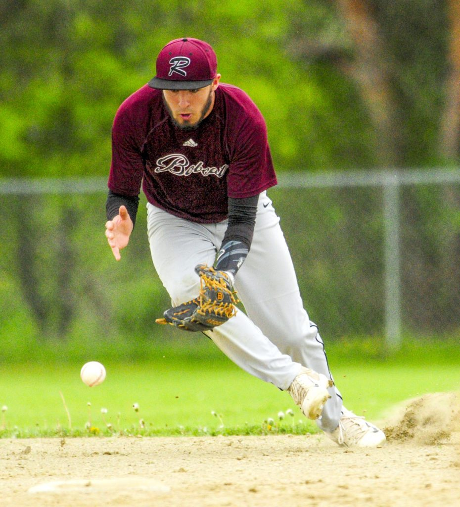 Richmond shortstop Matt Rines fields a bouncing ball during a game on Tuesday in Richmond.