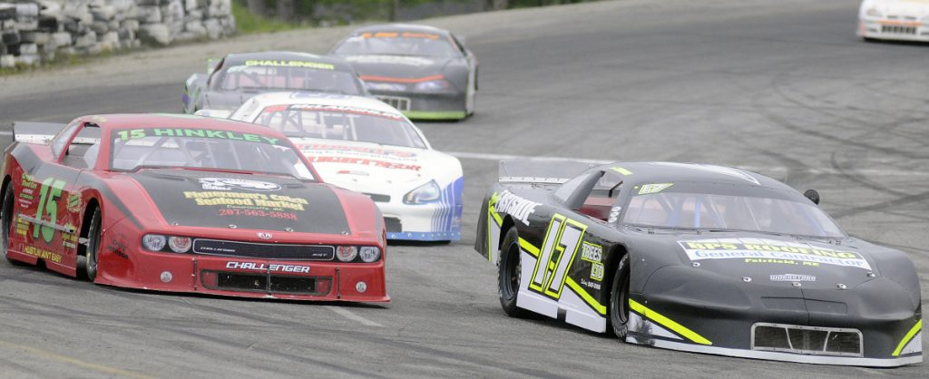 Chris Thorne of Sidney (17) leads the pack during the 2016 Coastal 200 at Wiscasset Speedway. Thorne went on to win the race that year.