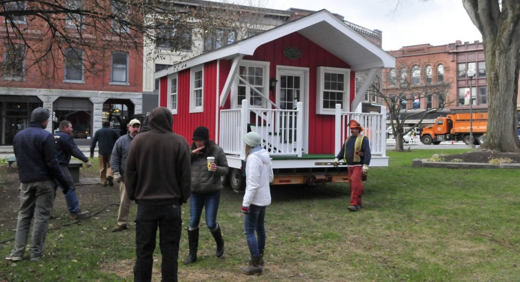 Another of the legacies of Waterville Main Street is Kringleville. Here the building where Santa Claus meets with children is brought into Castonquay Square in on Nov. 20, 2017. Responsibility for Kringleville and the Parade of Lights has been handed over to the Children's Discovery Museum.