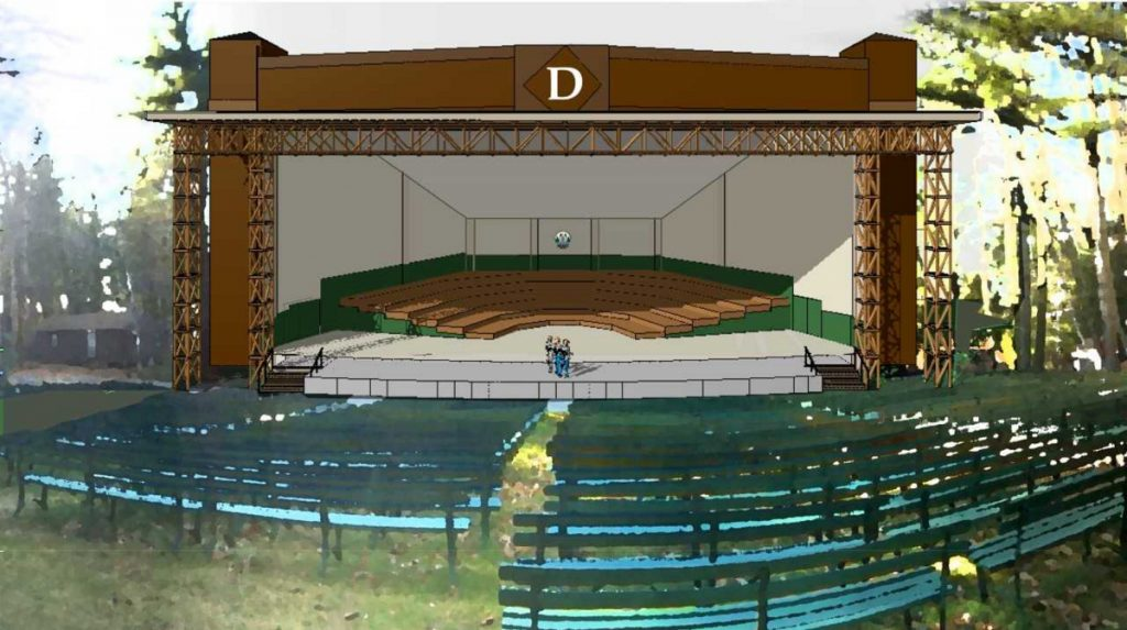 An artist's rendering of the planned amphitheater expansion at the Snow Pond Center for the Arts in Sidney.