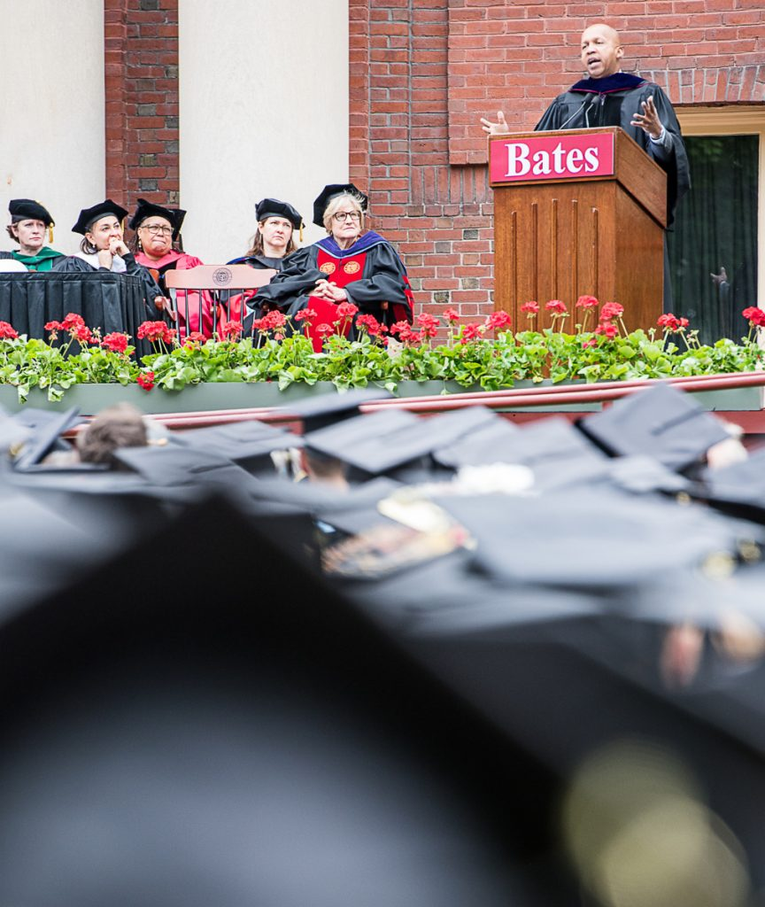 Bryan Stevenson gives the commencement address at Bates College in Lewiston on Sunday morning.
