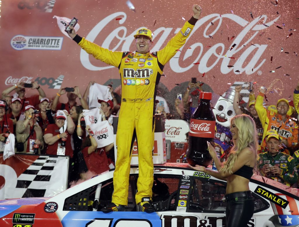 Kyle Busch celebrates after winning the Coca-Cola 600 on Sunday night at Charlotte Motor Speedway in Charlotte, North Carolina.