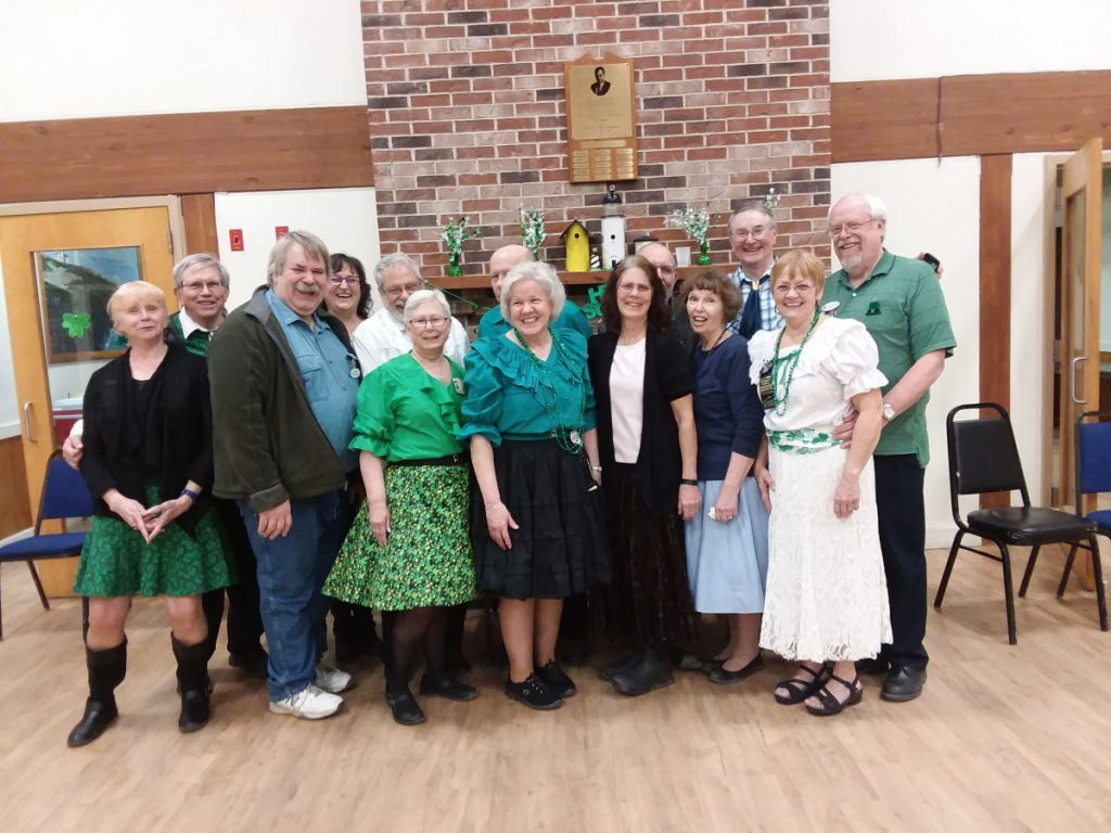 Couples from New Sharon (Friendship Square Dance Club of Farmington), Newport and Fairfield (Central Maine Square Dance Club of Waterville), Monmouth (Squire Town Squares of Winthrop), Oxford (Swinging Bears Square Dance Club of South Paris), Richmond and Ellsworth attended the square dancing weekends. Front, from left, are Steve and Ellie Saunders, Ellie Mulcahy, Nanci Temple, Margaret Carter, Cindy Fairfield and Bob Brown. Back, from left, are Steve Harris, Milton and Charlotte Sinclair, Dave Mulcahy, Larry Hillman, Fred Temple, Kathleen Hillman, Wes and Sue Burgess, and Bruce Carter.