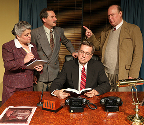 "From left: Karen LaPlante, Peter Diplock, Randolph M. Jones and Joe Klapatch in a scene from ""Moonlight and Magnolias."""