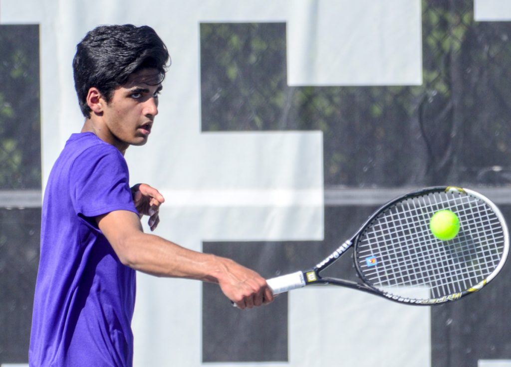 Waterville's Mohammad Ali Atif-Sheikh hits a ball during a Class B North quarterfinal match Thursday against Erskine at Colby College in Waterville.