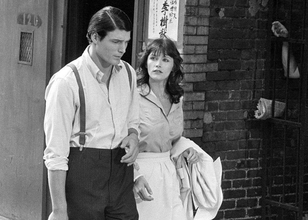 "Christopher Reeve and Margot Kidder appear during the filming of ""Superman"" in New York's Lower East Side in July 1977. Kidder, who starred as Lois Lane in the ""Superman"" film franchise of the late 1970s and early 1980s, died Sunday."