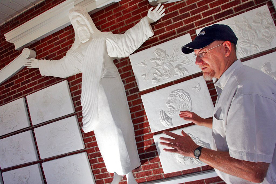 Bert Baker, shown here in 2007, is the artist who carved the sculpture of Christ at Red Bank Baptist Church in Lexington, S.C.