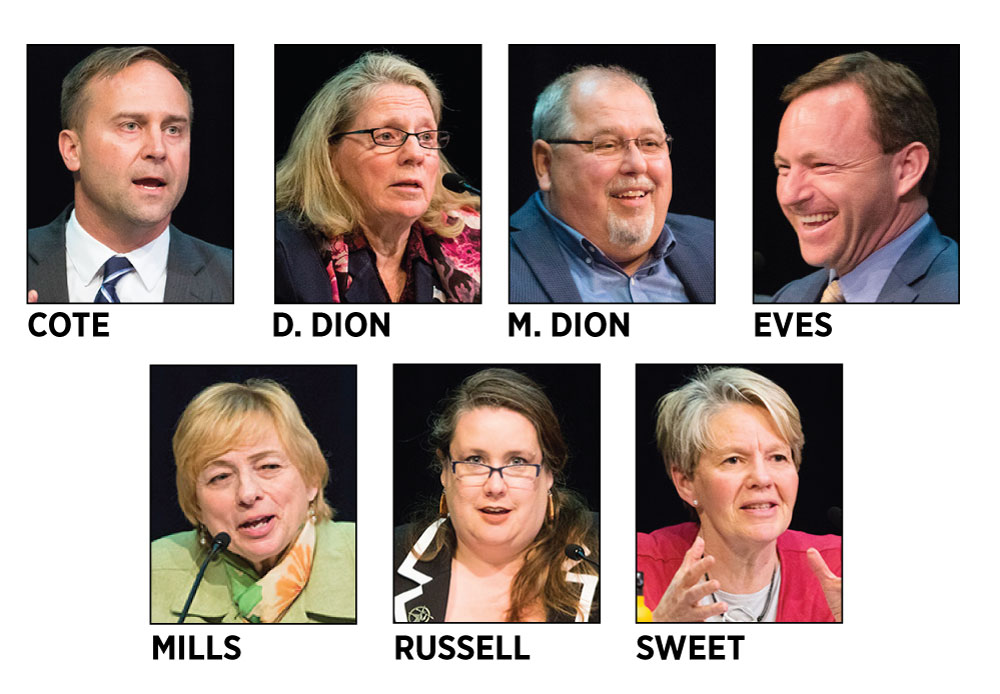 Adam Cote, Donna Dion, Mark Dion, Mark Eves, Janet Mills, Diane Russell, Betsy Sweet Democratic candidates governor 2018.