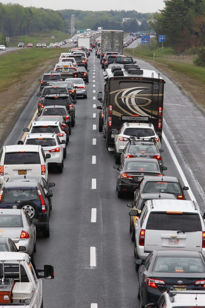 The scene northbound on I-295 Saturday morning just before mile 20, near Exit 20. Traffic was backed up on Route 1 to at least Yarmouth.