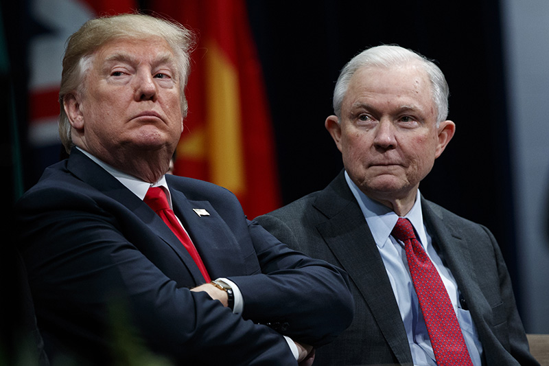 President Donald Trump and Attorney General Jeff Sessions in December 2017.