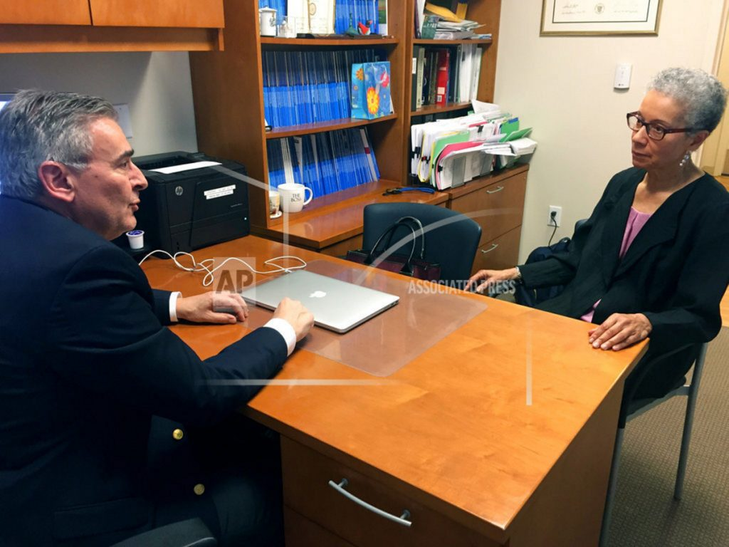 Adine Usher, 78, meets with breast cancer study leader Dr. Joseph Sparano at the Montefiore and Albert Einstein College of Medicine in the Bronx borough of New York last month. Usher was one of about 10,000 participants in the study which showed that women at low or intermediate risk for breast cancer recurrence may safely skip chemotherapy without hurting their chances of survival.