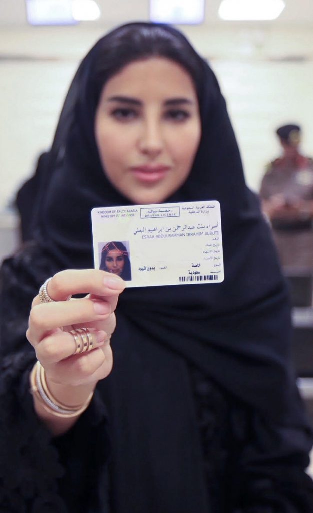 Esraa Albuti displays her brand new driver's license in the Saudi capital, Riyadh.