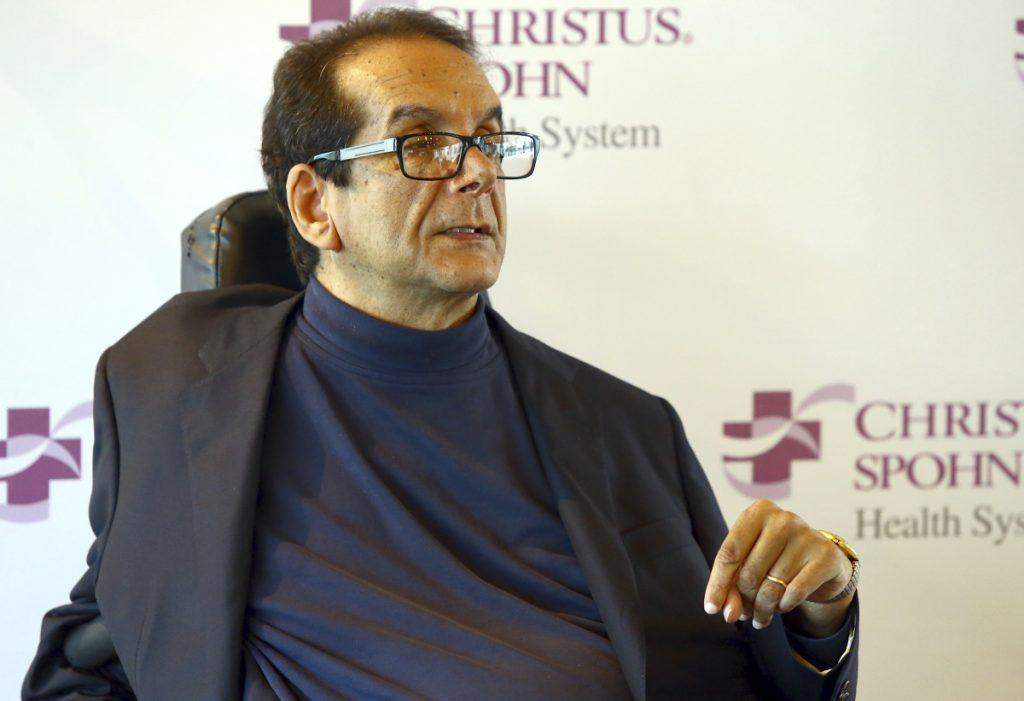 "Charles Krauthammer talks about getting into politics during a news conference in Corpus Christi, Texas in 2015.  The Fox News contributor and syndicated columnist says he has ""only a few weeks to live"" because of an aggressive form of cancer. Krauthammer disclosed his doctors' prognosis in a letter released Friday to colleagues, friends and viewers. Krauthammer wrote that he underwent surgery in August to remove a cancerous tumor in his abdomen."