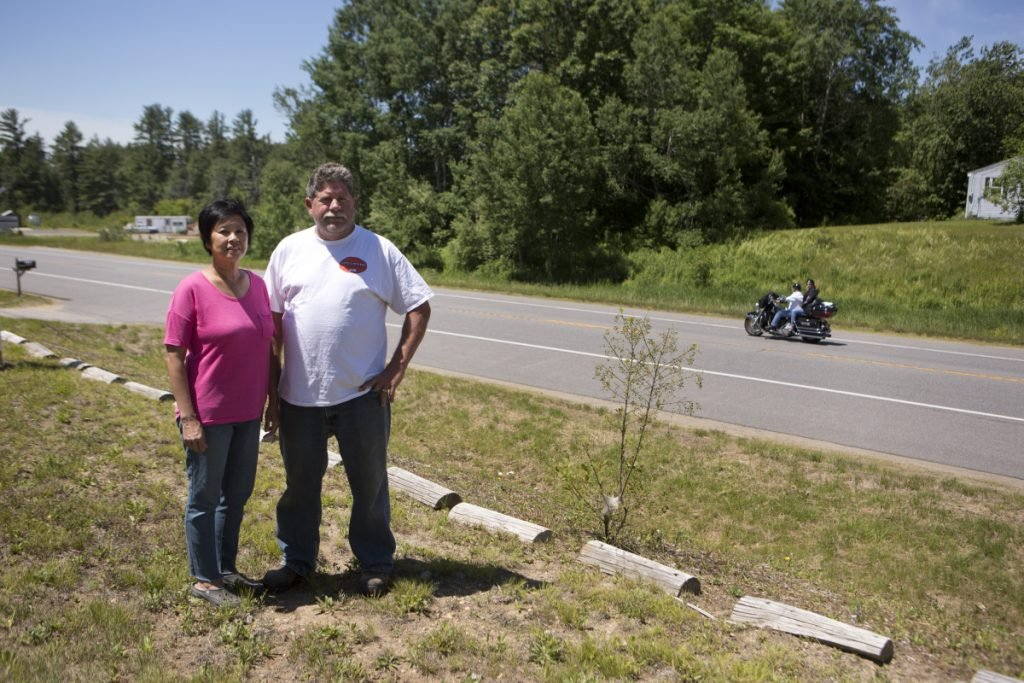 BERWICK, ME - JUNE 10: Photographed on Sunday, June 10, 2018, Mary and Chris Webber often watch the traffic go by on Route 4 in Berwick from the Berwick Bark Park, the dog park and food stand they own. Saturday's fatal accident was just down the street from their business. (Staff Photo by Ariana van den Akker/Staff Photographer)