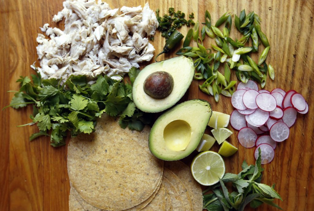 "Ingredients for this salpicon – Spanish for ""hodgepodge"" – include leftover fish and avocado, radishes, herbs and scallions."