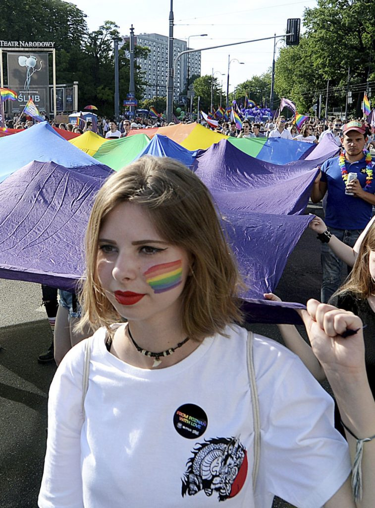 People take part in the annual Gay Pride parade, part of a pride celebration in Warsaw, Poland, last Saturday.