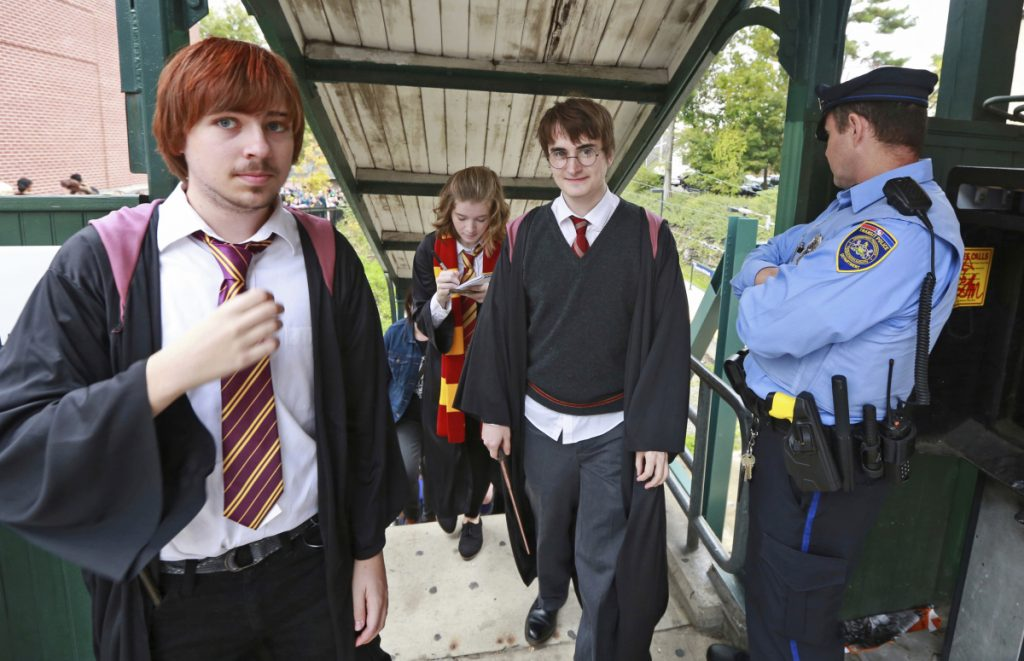 Students from Chestnut Hill College in Philadelphia dress up for an annual Harry Potter festival in 2014. Warner Bros. is trying to put an end to fan festivals around the country.