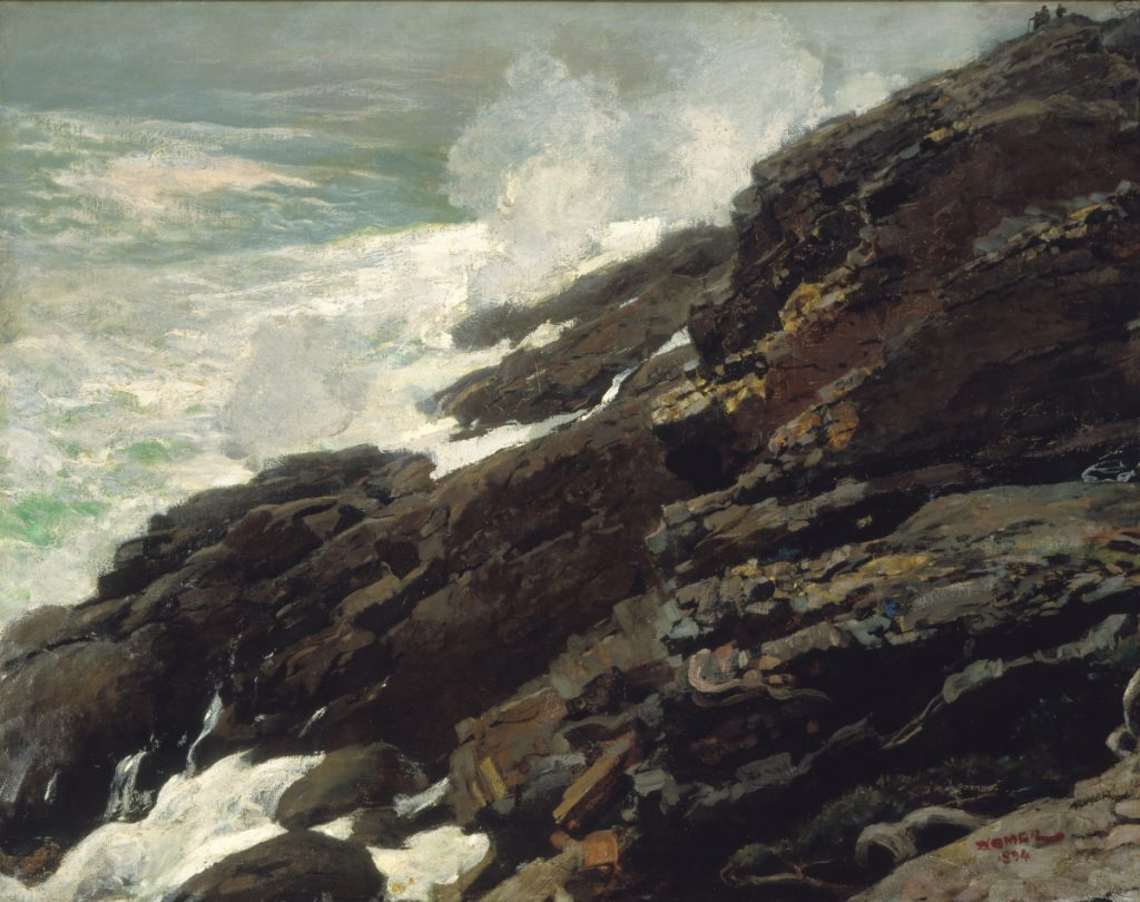 """High Cliff, Coast of Maine,"" 1894, oil on canvas by Winslow Homer."