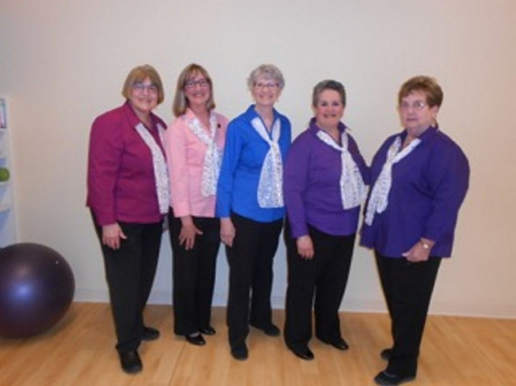 Mainely Harmony officers, from left, are BJ Sylvester-Pellett, Cathy Anderson, Barbara Combs, Candace Pepin and LouAnn Mossler.