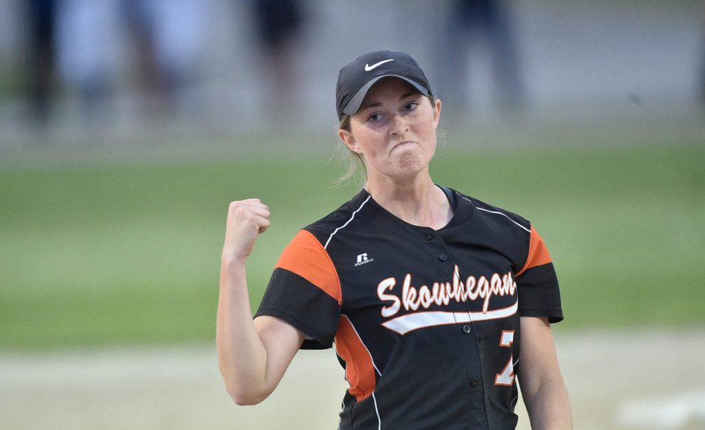Skowhegan pitcher Ashley Alward celebrates after beating Oxford Hills in the Class North championship game last season at Cony High School in Augusta. Skowhegan went undefeated this season and is the No. 1 seed.