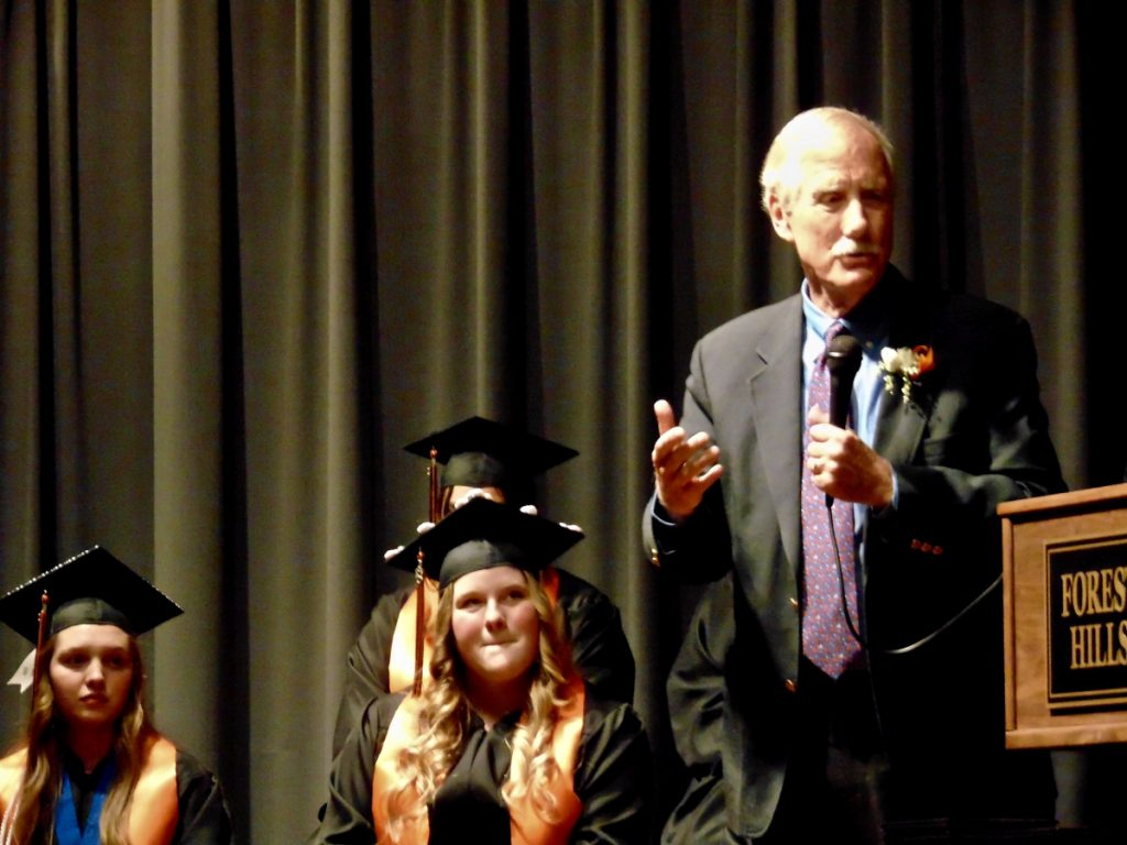 Sen. Angus King gives the Forest Hills graduates advice that he said he wish he'd had when he was 18 years old during Saturday's graduation ceremony in Jackman.