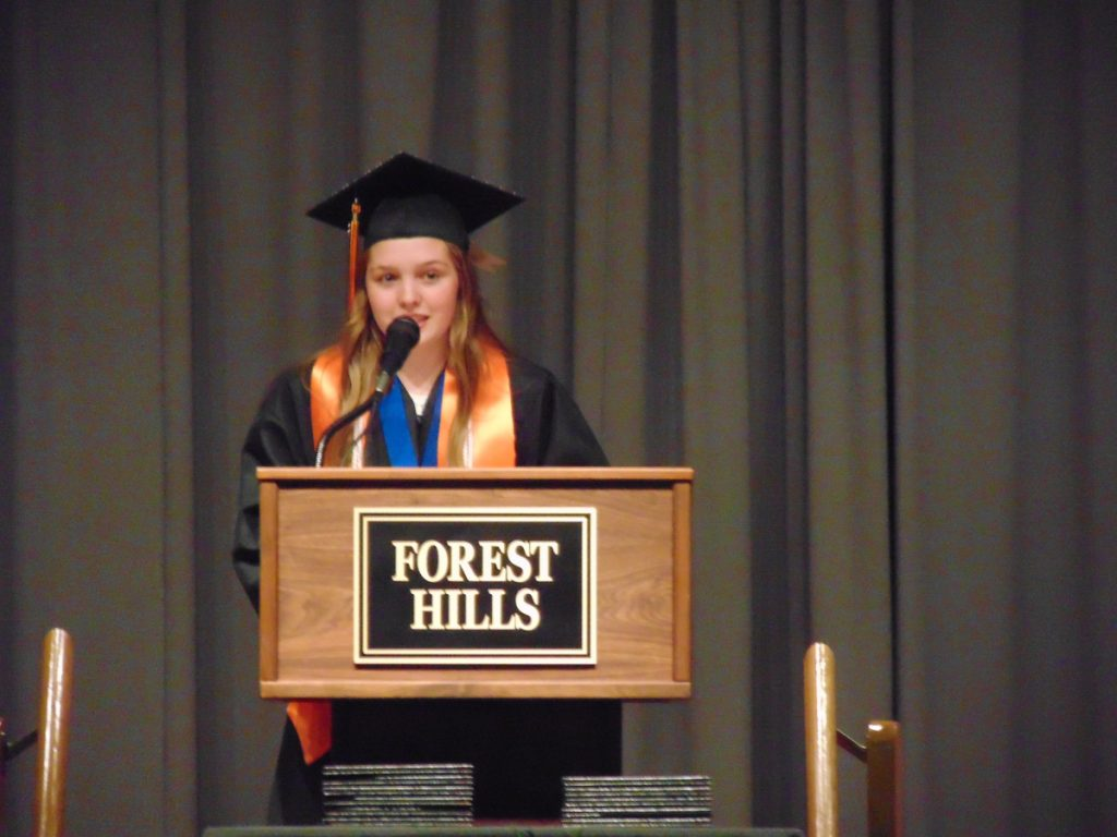 Demetria Giroux, the class's salutatorian, delivers her address Saturday during the Forest Hills graduation ceremony in Jackman. In an emotional speech, she told her 10 fellow graduates what they each have meant to her during their years together as a tight-knit class.