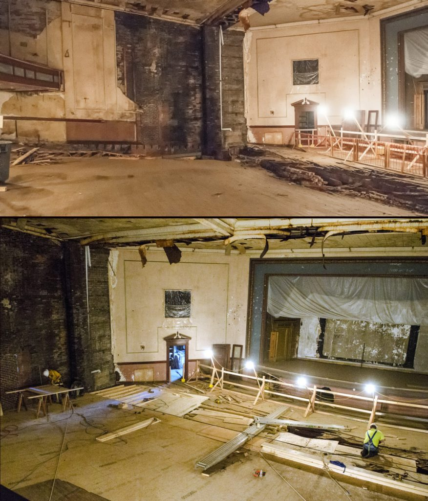 The top photo taken on Nov. 8, 2017, shows the inside of the Colonial Theatre in Augusta. The bottom photo taken on Tuesday shows floor repairs underway.