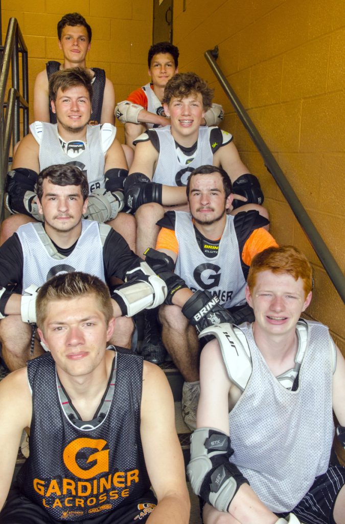 The Gardiner boys lacrosse team has six sets of brothers, four of which posed during a June 1 practice in Gardiner. They are from, left, to right: top row Noah Keene, Logan Keene; Connor Manter, Logan Manter; Nathaniel Phillis, Bradley Phillis, Isaac Dearborn and Max Dearborn. The other brothers on the team are Parker and Garrett Hinkley, and Sean and Cameron Michaud.