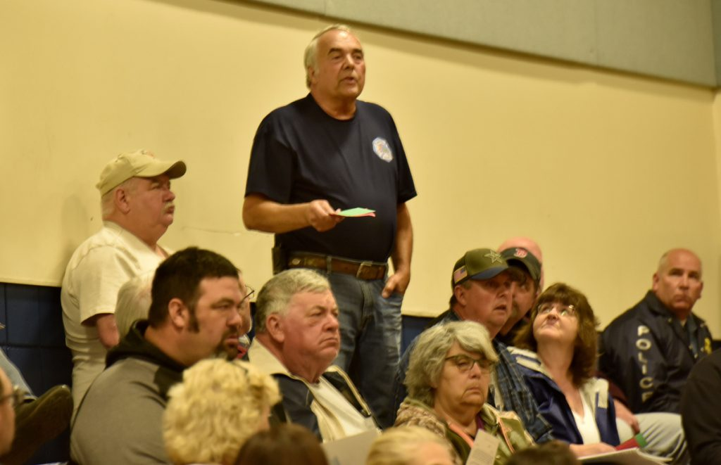 Vassalboro resident Mike Vashon makes a point Monday during the Vassalboro Town Meeting.
