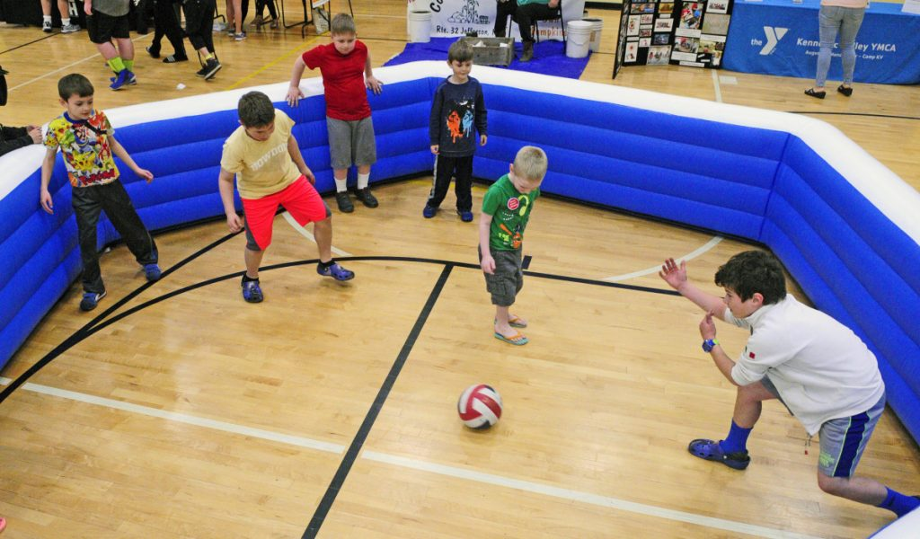 Kids play Gaga ball at the Kennebec Valley YMCA in Augusta on April 29, 2017.