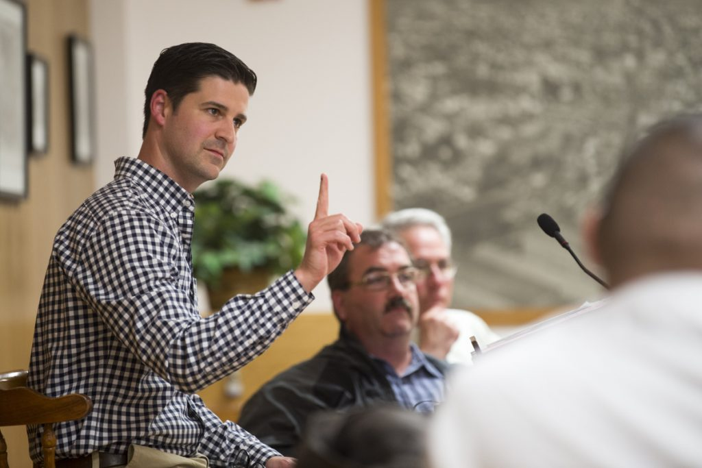 Mayor Nick Isgro raises his finger as he gavels down city manager Mike Roy after asking him to take the podium to clarify the outdoor dining ordinance during a budget meeting at the City Council Chambers at The Center on Tuesday.