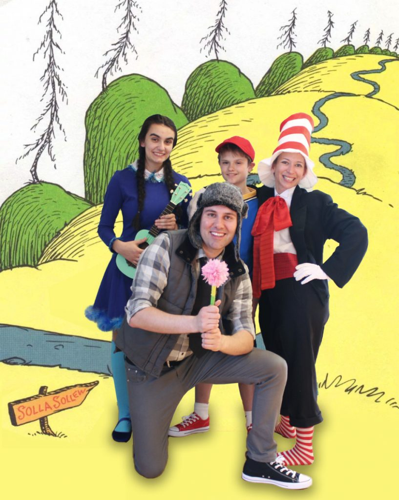"Photo courtesy of Waterville Creates!   The cast of ""Seussical,"" from left are Emily Goulette as Gertrude McFuzz, Adam P. Blais as Horton the Elephant Andrew Lyndaker as Jojo and The Cat in the Hat."