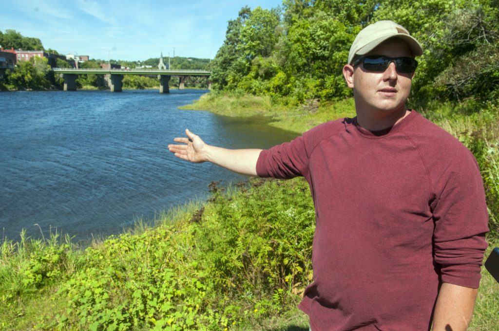 Sean Scanlon, of Dresden, answers questions Sept. 17, 2016, about how he saved a child from drowning in the Kennebec River the evening before at Augusta's East Side Boat Landing.