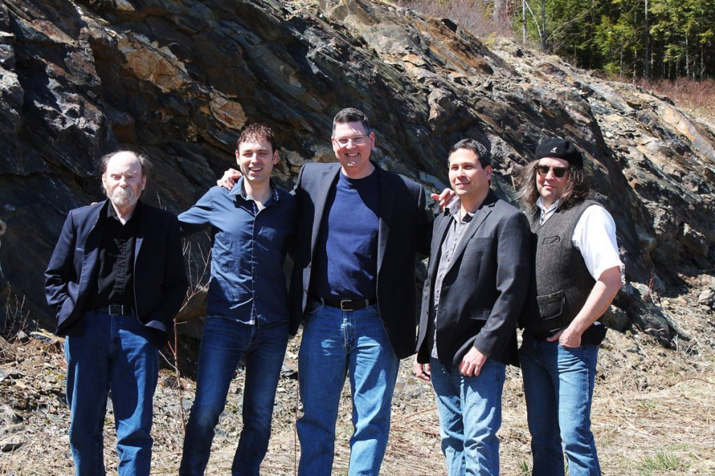 "The ""Sojourn Rocks"" line-up from left are Mark McNeil, Jerry Perron, Luc Bergeron, Chris Doehne and Parker Kenyon."