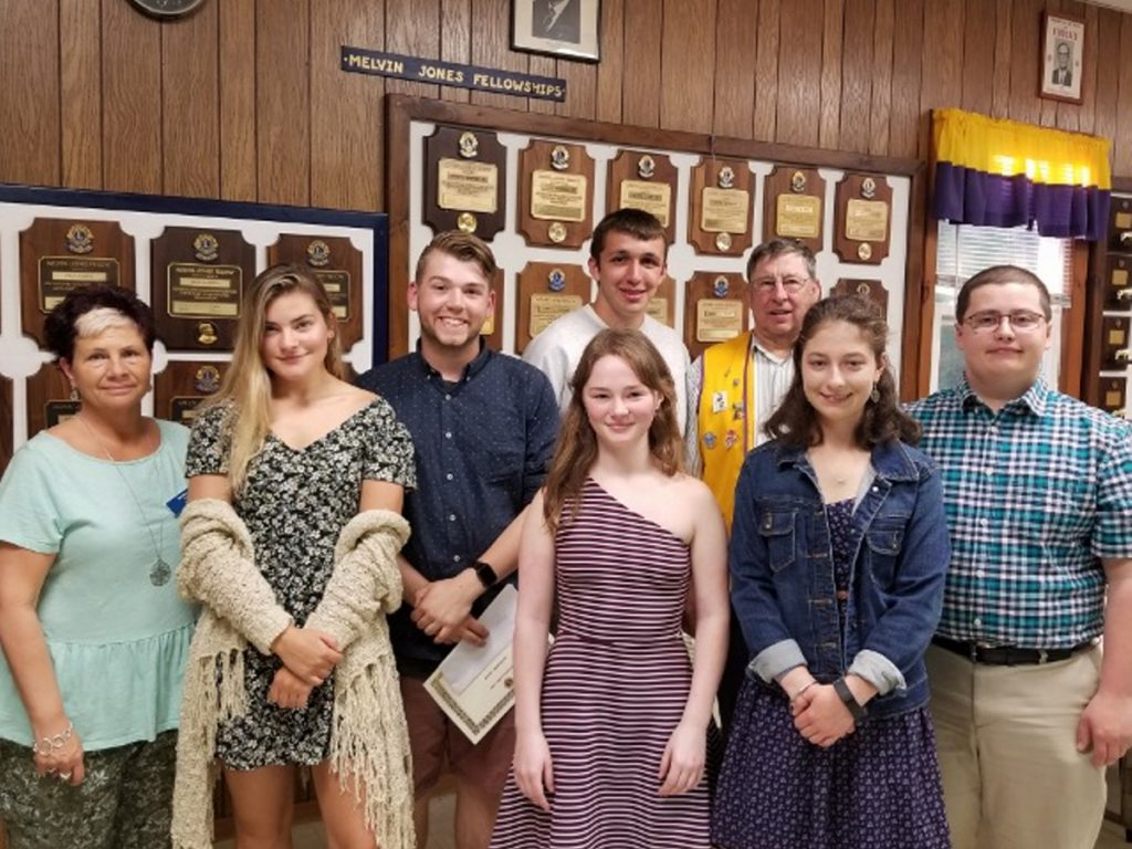 The Whitefield Lions Club has awarded six scholarships to the following local students, in front, from left, are Club president Lion Cindy Lincoln, Morgan Emond, Basal White, Samantha Jackson, Emma Allen and Madison Allen, Back, from left, are Harrison Mosher and Lion Barry Tibbetts.
