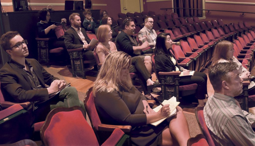 Municipal officials listen to a presentation Thursday at the Waterville Opera House about the results of a study of the Kennebec Valley's strength as a destination and the strength of the community's engagement in making it a tourist destination.