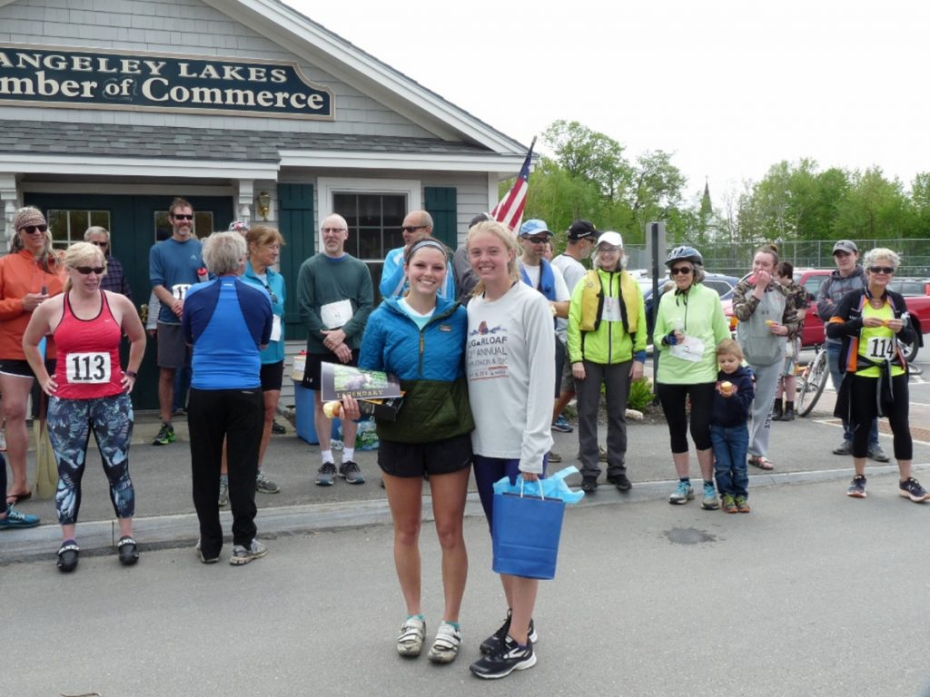 Women's winner of the Rangeley RuKaBi race was Olivia Oulette, right, with Natalie Bolduc, who placed second.