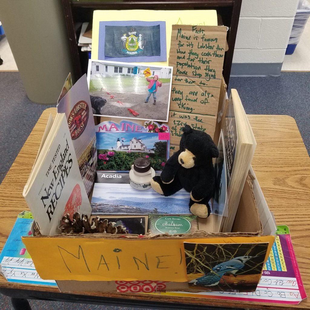 A picture of just some of the items received from Maine newspaper readers for a State Fair Float project done by third-grade students at the Langley School in McLean, Virginia.