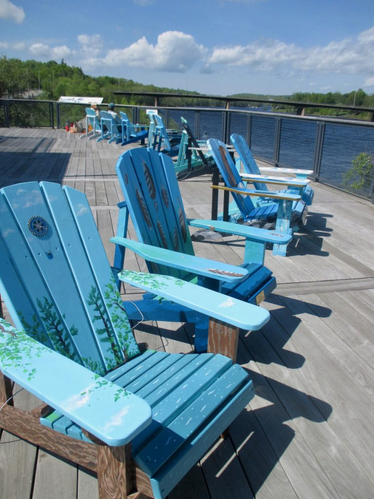The 11 Alewife Adirondack Chairs sponsored and designed by the Gardiner creative community.