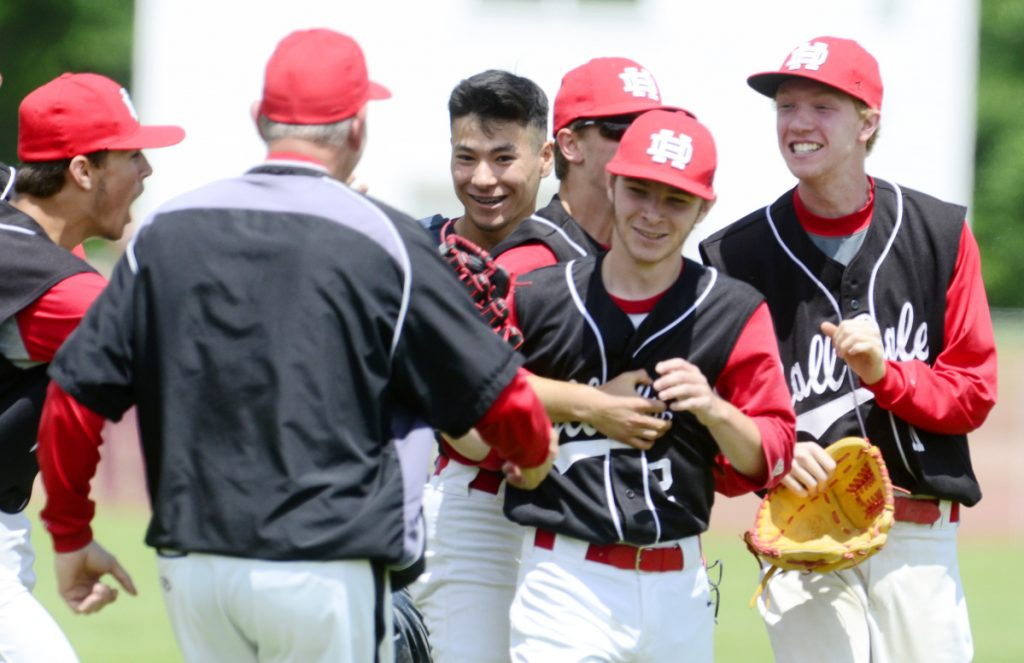 The Hall-Dale baseball team celebrates after it beat Bridgeway 7-4 in a Class C South semifinal Saturday in Farmingdale.