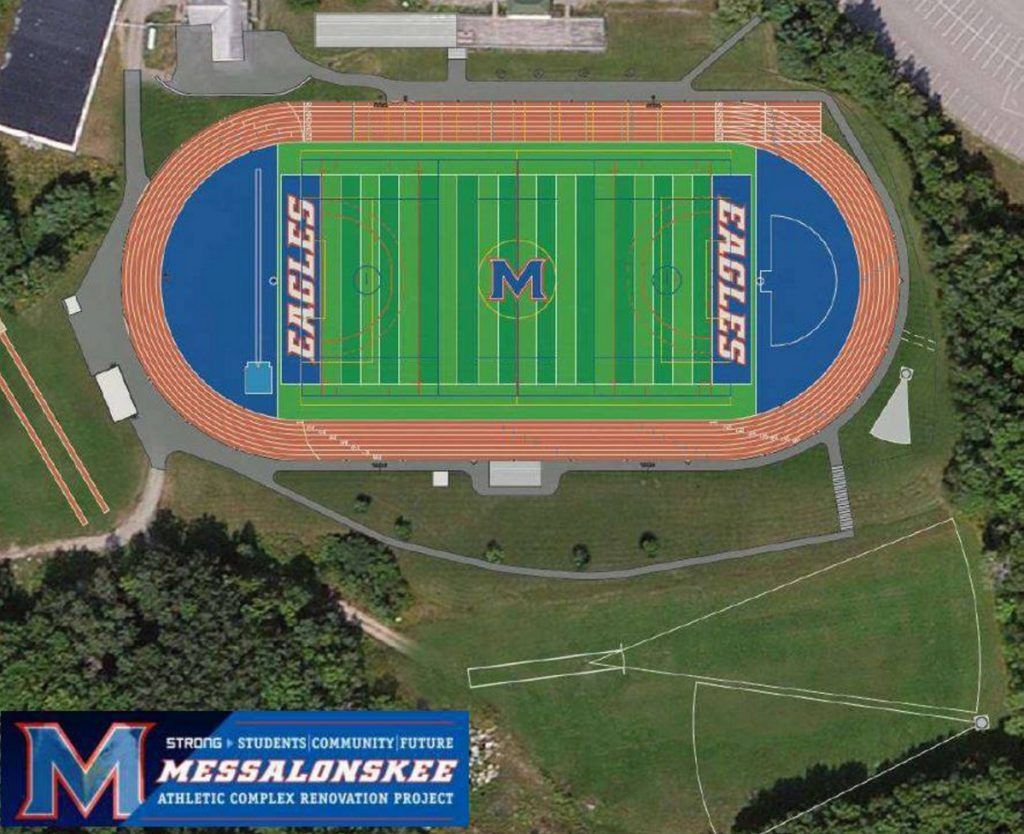 A new eight-lane track and a multisport artificial turf field are among the improvements to be made at the Messalonskee High School sports complex.