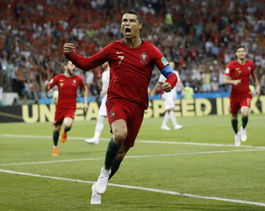 Portugal's Cristiano Ronaldo celebrates his side's opening goal during the Group B match against Spain at the 2018 World Cup on Friday in the Fisht Stadium in Sochi, Russia.