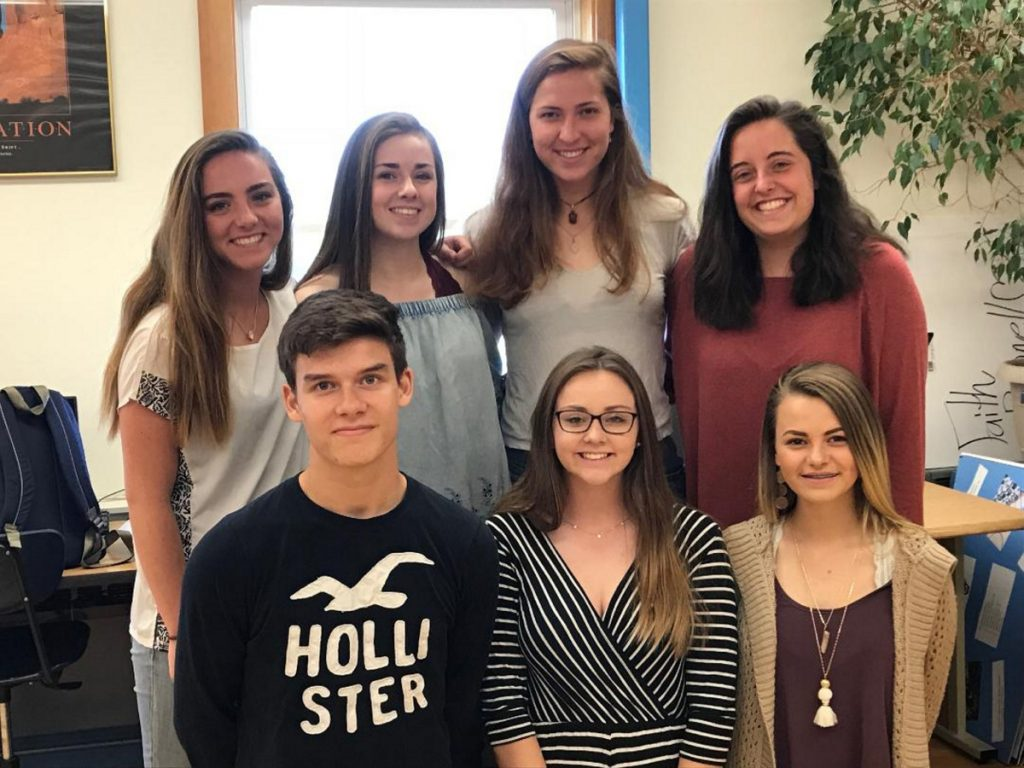 The new officers and executive committee for the 2018-19  Leo Club are, from left, Alex Mahon, Parker King and Tori Grasse. Back, from left are Alana York, Samantha Heath, Liz Sugg and Lucy Allen, secretary. Missing from photo are Olivia Kunesh and Matt Veilleux.